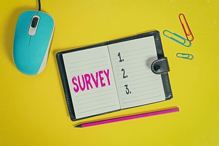 Writing note showing Survey. Business concept for research method used for collecting data from a predefined group Leather locked diary striped sheets marker mouse colored background Banco de Imagens