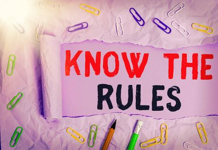 Text sign showing Know The Rules. Business photo showcasing set explicit or regulation principles governing conduct