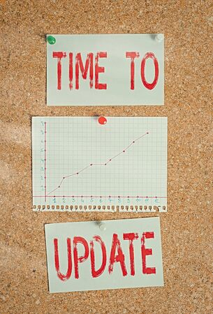 Text sign showing Time To Update. Business photo showcasing this is right moment to make something more modern new Corkboard color size paper pin thumbtack tack sheet billboard notice board