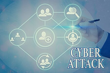 Text sign showing Cyber Attack. Business photo text An attempt by hackers to Damage Destroy a Computer System