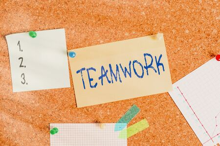 Word writing text Teamwork. Business photo showcasing combined action of group especially when effective and efficient Corkboard color size paper pin thumbtack tack sheet billboard notice board 写真素材