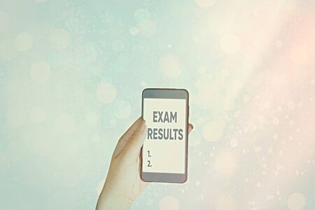 Writing note showing Exam Results. Business concept for An outcome of a formal test that shows knowledge or ability