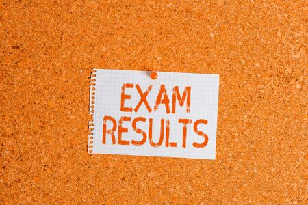 Word writing text Exam Results. Business photo showcasing An outcome of a formal test that shows knowledge or ability Corkboard color size paper pin thumbtack tack sheet billboard notice board