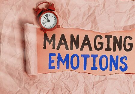 Word writing text Managing Emotions. Business photo showcasing ability be open to feelings and modulate them in oneself Фото со стока