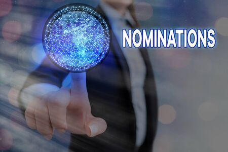 Conceptual hand writing showing Nominations. Concept meaning action of nominating or state being nominated for prize