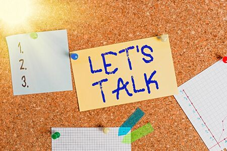 Word writing text Let S Talk. Business photo showcasing they are suggesting beginning conversation on specific topic Corkboard color size paper pin thumbtack tack sheet billboard notice board