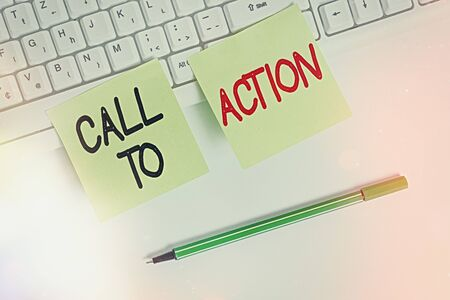 Writing note showing Call To Action. Business concept for exhortation do something in order achieve aim with problem Square green note paper with pencil on the white background