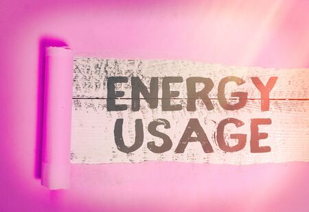 Text sign showing Energy Usage. Business photo showcasing Amount of energy consumed or used in a process or system Standard-Bild