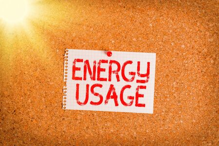 Word writing text Energy Usage. Business photo showcasing Amount of energy consumed or used in a process or system Corkboard color size paper pin thumbtack tack sheet billboard notice board