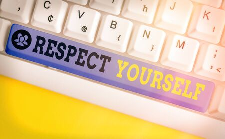 Text sign showing Respect Yourself. Business photo showcasing believing that you good and worthy being treated well 写真素材
