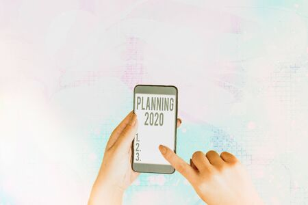 Text sign showing Planning 2020. Business photo showcasing process of making plans for something next year