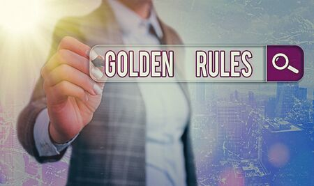 Conceptual hand writing showing Golden Rules. Concept meaning Basic principle that should be followed Important Principle