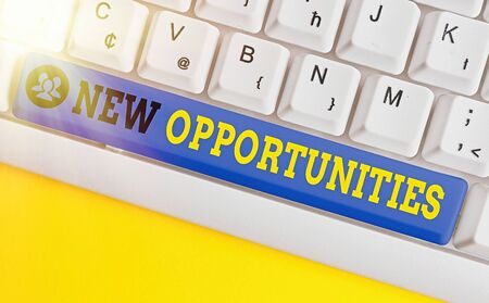 Text sign showing New Opportunities. Business photo showcasing exchange views condition favorable for attainment goal