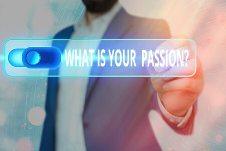 Word writing text What Is Your Passion Question. Business photo showcasing asking about his strong and barely controllable emotion Фото со стока
