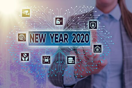Text sign showing New Year 2020. Business photo text Greeting Celebrating Holiday Fresh Start Best wishes