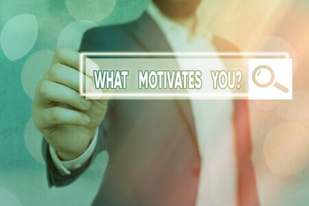 Word writing text What Motivates Youquestion. Business photo showcasing know reasons why you want to wake up each morning