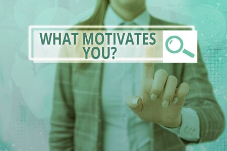 Text sign showing What Motivates Youquestion. Business photo showcasing know reasons why you want to wake up each morning Фото со стока