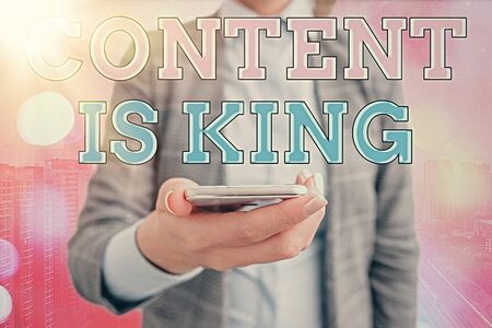 Conceptual hand writing showing Content Is King. Concept meaning marketing focused growing visibility non paid search results