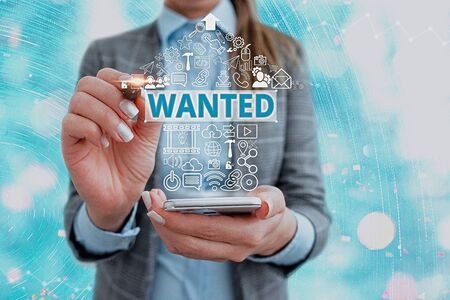 Word writing text Wanted. Business photo showcasing Desire something Wish want Hoping for Somebody being searched