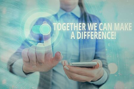Word writing text Together We Can Make A Difference. Business photo showcasing be very important some way in like team or group Imagens
