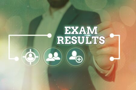 Word writing text Exam Results. Business photo showcasing An outcome of a formal test that shows knowledge or ability
