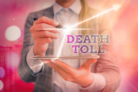 Text sign showing Death Toll. Business photo showcasing the number of deaths resulting from a particular incident