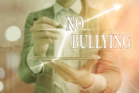 Text sign showing No Bullying. Business photo showcasing stop aggressive behavior among children power imbalance