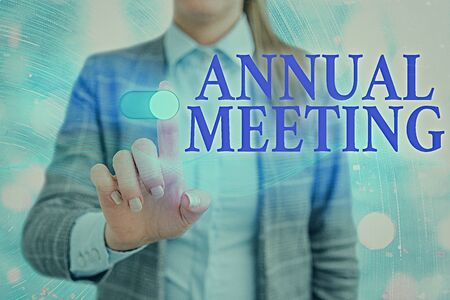 Word writing text Annual Meeting. Business photo showcasing yearly meeting of the general membership of an organization Stock Photo