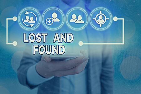 Text sign showing Lost And Found. Business photo showcasing a place where lost items are stored until they reclaimed