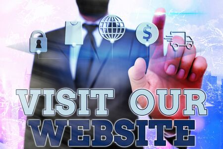Conceptual hand writing showing Visit Our Website. Concept meaning visitor who arrives at web site and proceeds to browse