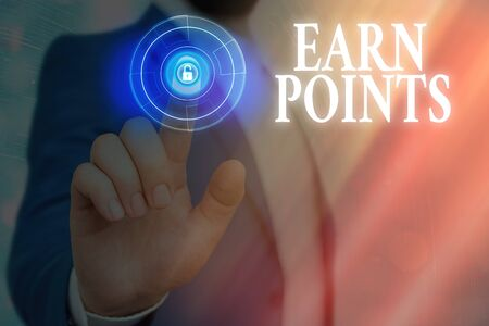 Text sign showing Earn Points. Business photo text getting praise or approval for something you have done Imagens