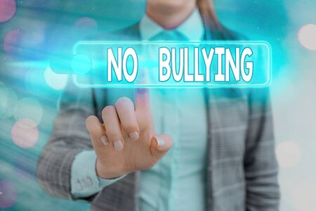 Word writing text No Bullying. Business photo showcasing stop aggressive behavior among children power imbalance Banque d'images