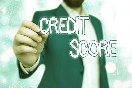 Handwriting text Credit Score. Conceptual photo Represent the creditworthiness of an individual Lenders rating