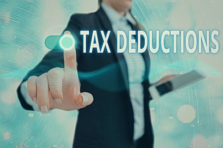 Conceptual hand writing showing Tax Deductions. Concept meaning an amount or cost that subtracted from someone s is income Imagens