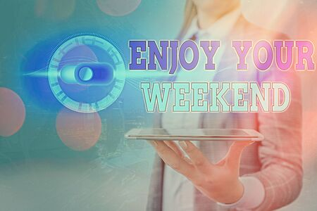 Text sign showing Enjoy Your Weekend. Business photo showcasing wishing someone that something nice will happen at holiday Stock fotó