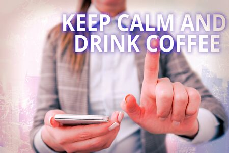 Conceptual hand writing text caption inspiration showing Keep Calm And Drink Coffee. conceptual meaning encourage an individual to enjoy caffeine drink and relax and Love written on sticky note, reminder cork background with space