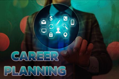 Word writing text Career Planning. Business photo showcasing Strategically plan your career goals and work success Stock fotó