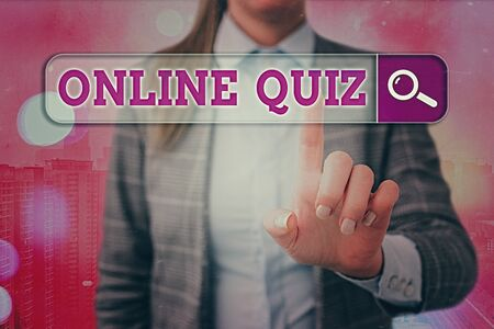 Conceptual hand writing showing Online Quiz. Concept meaning game or a mind sport that are published on the Internet
