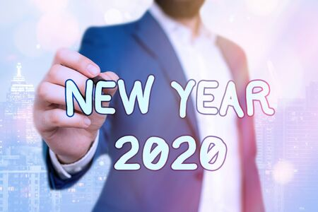 Handwriting text New Year 2020. Conceptual photo Greeting Celebrating Holiday Fresh Start Best wishes
