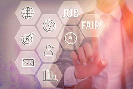 Text sign showing Job Fair. Business photo text event where employers offer information about their companies