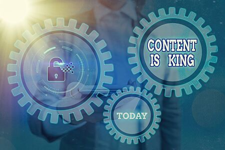 Text sign showing Content Is King. Business photo showcasing believe that content is central to the success of a website