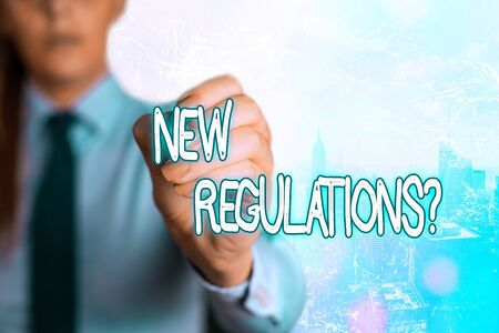 Word writing text New Regulations Question. Business photo showcasing rules made government order control way something is done Фото со стока