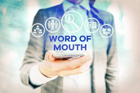 Text sign showing Word Of Mouth. Business photo showcasing information that is transmitted without being written down