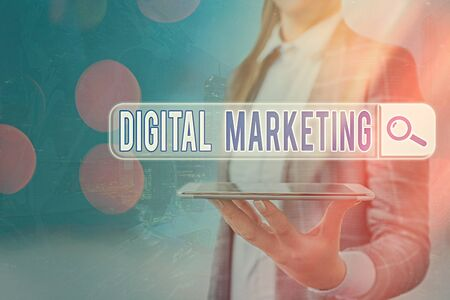 Text sign showing Digital Marketing. Business photo text market products or services using technologies on Internet