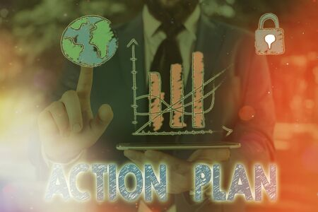 Conceptual hand writing showing Action Plan. Concept meaning detailed plan outlining actions needed to reach goals or vision Stok Fotoğraf