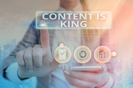 Writing note showing Content Is King. Business concept for believe that content is central to the success of a website Foto de archivo