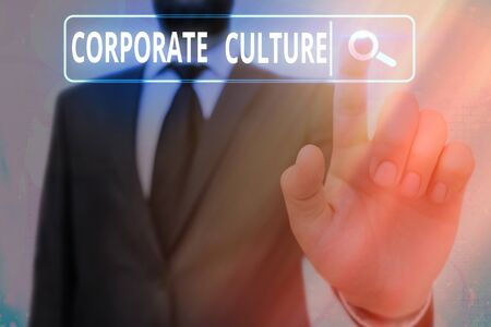 Word writing text Corporate Culture. Business photo showcasing pervasive values and attitudes that characterize a company Banco de Imagens