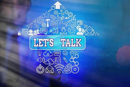 Writing note showing Let S Talk. Business concept for they are suggesting beginning conversation on specific topic Stock fotó