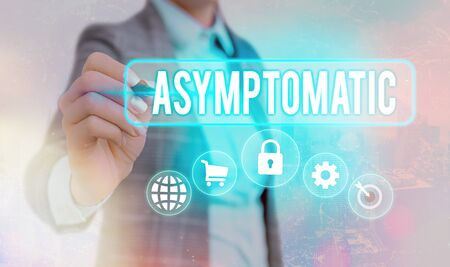 Writing note showing Asymptomatic. Business concept for a condition or an individual producing or showing no symptoms