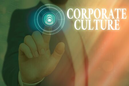 Text sign showing Corporate Culture. Business photo text pervasive values and attitudes that characterize a company